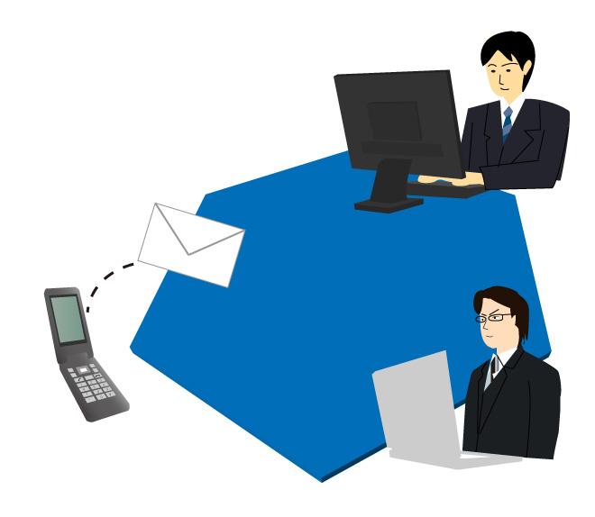 ビジネス文章を入力する人とメール送信