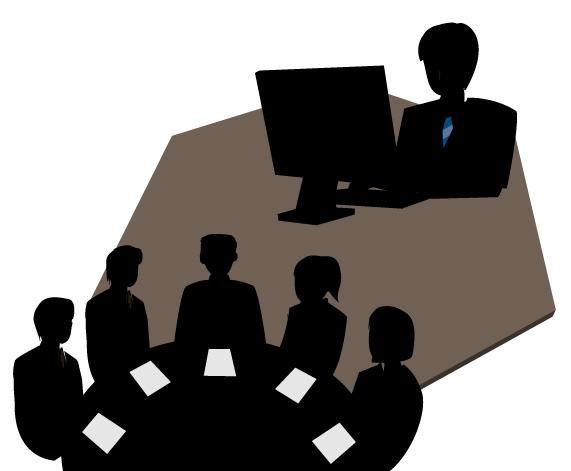 ビジネス文章入力し、会議で書類に目を通す